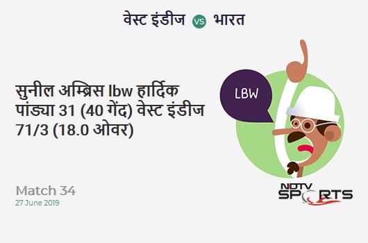 WI vs IND: Match 34: WICKET! Sunil Ambris lbw b Hardik Pandya 31 (40b, 2x4, 0x6). वेस्ट इंडीज 71/3 (18.0 Ov). Target: 269; RRR: 6.19
