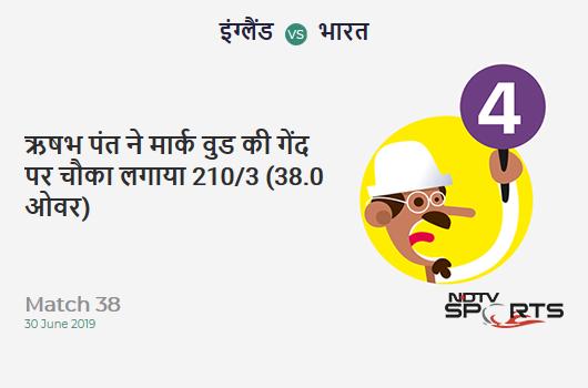 ENG vs IND: Match 38: Rishabh Pant hits Mark Wood for a 4! India 210/3 (38.0 Ov). Target: 338; RRR: 10.67