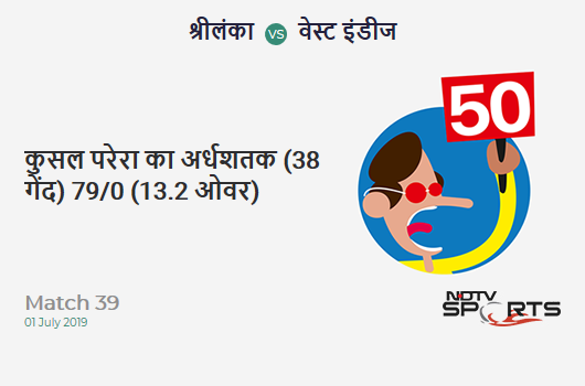 SL vs WI: Match 39: FIFTY! Kusal Perera completes 50 (38b, 7x4, 0x6). श्रीलंका 79/0 (13.2 Ovs). CRR: 5.92