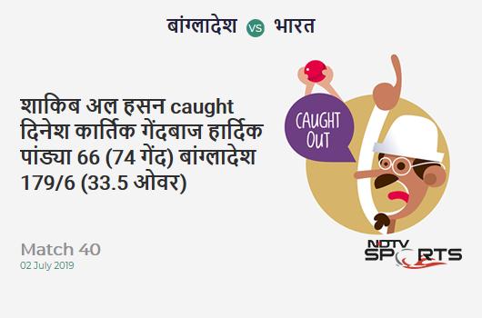 BAN vs IND: Match 40: WICKET! Shakib Al Hasan c Dinesh Karthik b Hardik Pandya 66 (74b, 6x4, 0x6). बांग्लादेश 179/6 (33.5 Ov). Target: 315; RRR: 8.41