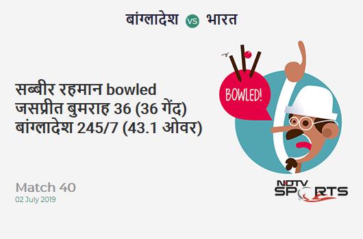 BAN vs IND: Match 40: WICKET! Sabbir Rahman b Jasprit Bumrah 36 (36b, 5x4, 0x6). बांग्लादेश 245/7 (43.1 Ov). Target: 315; RRR: 10.24