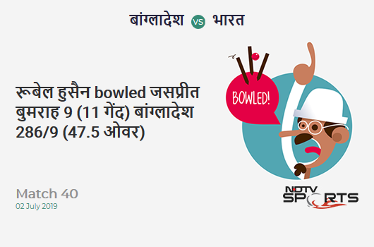 BAN vs IND: Match 40: WICKET! Rubel Hossain b Jasprit Bumrah 9 (11b, 1x4, 0x6). बांग्लादेश 286/9 (47.5 Ov). Target: 315; RRR: 13.38