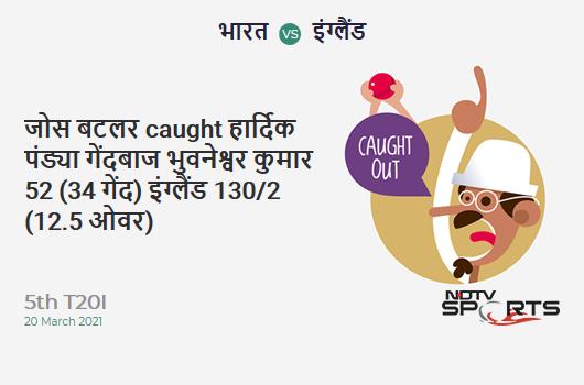IND vs ENG: 5th T20I: WICKET! Jos Buttler c Hardik Pandya b Bhuvneshwar Kumar 52 (34b, 2x4, 4x6). ENG 130/2 (12.5 Ov). Target: 225; RRR: 13.26