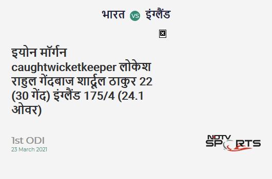 IND vs ENG: 1st ODI: WICKET! Eoin Morgan c KL Rahul b Shardul Thakur 22 (30b, 1x4, 1x6). ENG 175/4 (24.1 Ov). Target: 318; RRR: 5.54