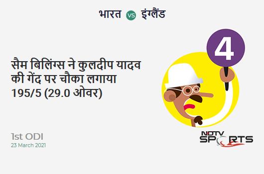 IND vs ENG: 1st ODI: Sam Billings hits Kuldeep Yadav for a 4! ENG 195/5 (29.0 Ov). Target: 318; RRR: 5.86