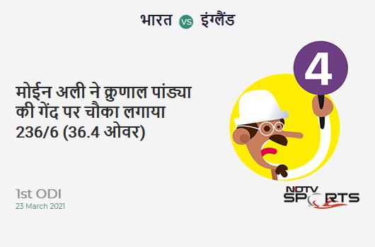 IND vs ENG: 1st ODI: Moeen Ali hits Krunal Pandya for a 4! ENG 236/6 (36.4 Ov). Target: 318; RRR: 6.15