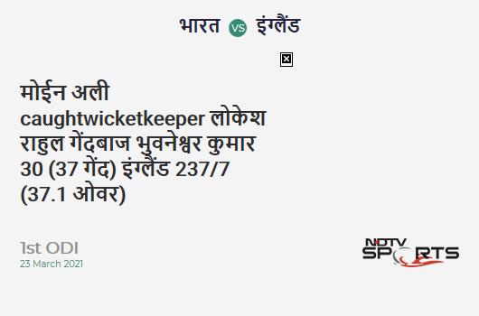 IND vs ENG: 1st ODI: WICKET! Moeen Ali c KL Rahul b Bhuvneshwar Kumar 30 (37b, 2x4, 1x6). ENG 237/7 (37.1 Ov). Target: 318; RRR: 6.31