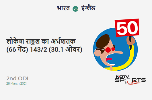 IND vs ENG: 2nd ODI: FIFTY! KL Rahul completes 50 (66b, 3x4, 0x6). IND 143/2 (30.1 Ovs). CRR: 4.74