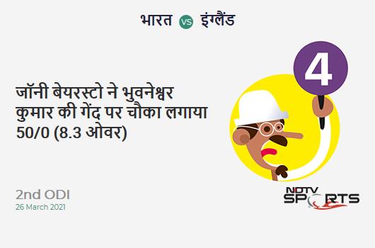 IND vs ENG: 2nd ODI: Jonny Bairstow hits Bhuvneshwar Kumar for a 4! ENG 50/0 (8.3 Ov). Target: 337; RRR: 6.92
