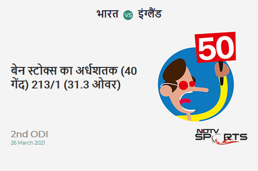 IND vs ENG: 2nd ODI: FIFTY! Ben Stokes completes 50 (40b, 2x4, 4x6). ENG 213/1 (31.3 Ovs). Target: 337; RRR: 6.70