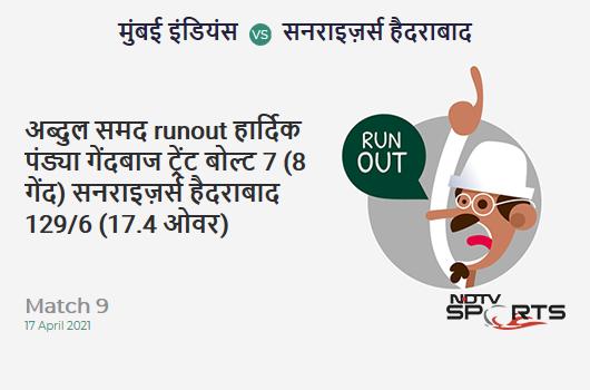 MI vs SRH: Match 9: WICKET! Abdul Samad run out (Hardik Pandya) 7 (8b, 1x4, 0x6). SRH 129/6 (17.4 Ov). Target: 151; RRR: 9.43