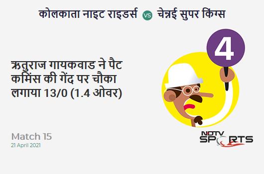 KKR vs CSK: Match 15: Ruturaj Gaikwad hits Pat Cummins for a 4! CSK 13/0 (1.4 Ov). CRR: 7.8