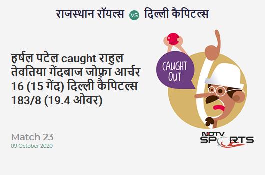 RR vs DC: Match 23: WICKET! Harshal Patel c Rahul Tewatia b Jofra Archer 16 (15b, 1x4, 0x6). Delhi Capitals 183/8 (19.4 Ov). CRR: 9.30