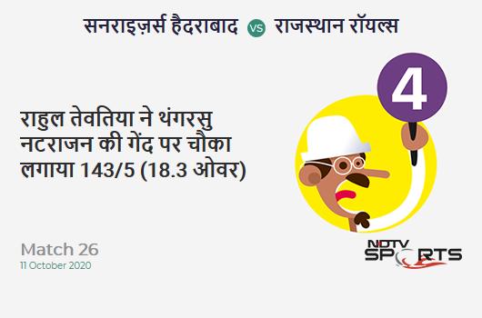 SRH vs RR: Match 26: Rahul Tewatia hits T Natarajan for a 4! Rajasthan Royals 143/5 (18.3 Ov). Target: 159; RRR: 10.67