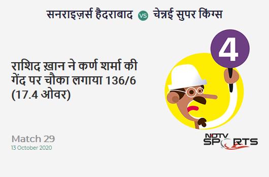 SRH vs CSK: Match 29: Rashid Khan hits Karn Sharma for a 4! Sunrisers Hyderabad 136/6 (17.4 Ov). Target: 168; RRR: 13.71