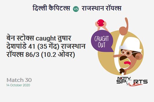 DC vs RR: Match 30: WICKET! Ben Stokes c sub b Tushar Deshpande 41 (35b, 6x4, 0x6). Rajasthan Royals 86/3 (10.2 Ov). Target: 162; RRR: 7.86