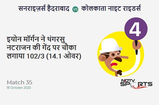 SRH vs KKR: Match 35: Eoin Morgan hits T Natarajan for a 4! Kolkata Knight Riders 102/3 (14.1 Ov). CRR: 7.2