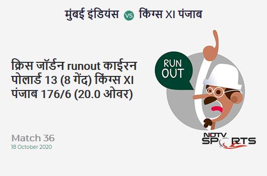MI vs KXIP: Match 36: WICKET! Chris Jordan run out (Kieron Pollard) 13 (8b, 2x4, 0x6). Kings XI Punjab 176/6 (20.0 Ov). Target: 177; RRR: