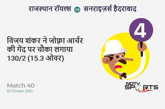 RR vs SRH: Match 40: Vijay Shankar hits Jofra Archer for a 4! Sunrisers Hyderabad 130/2 (15.3 Ov). Target: 155; RRR: 5.56
