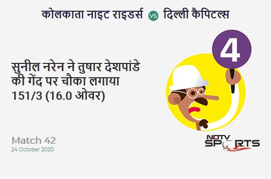 KKR vs DC: Match 42: Sunil Narine hits Tushar Deshpande for a 4! Kolkata Knight Riders 151/3 (16.0 Ov). CRR: 9.43