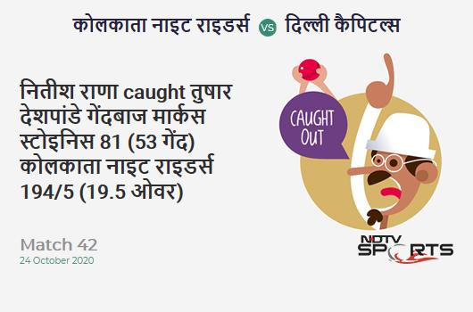KKR vs DC: Match 42: WICKET! Nitish Rana c Tushar Deshpande b Marcus Stoinis 81 (53b, 13x4, 1x6). Kolkata Knight Riders 194/5 (19.5 Ov). CRR: 9.78