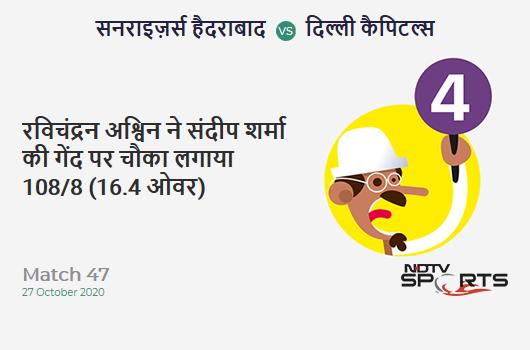 SRH vs DC: Match 47: Ravichandran Ashwin hits Sandeep Sharma for a 4! Delhi Capitals 108/8 (16.4 Ov). Target: 220; RRR: 33.6