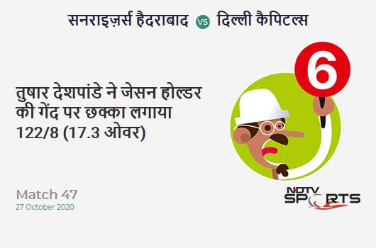 SRH vs DC: Match 47: It's a SIX! Tushar Deshpande hits Jason Holder. Delhi Capitals 122/8 (17.3 Ov). Target: 220; RRR: 39.20