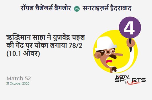 RCB vs SRH: Match 52: Wriddhiman Saha hits Yuzvendra Chahal for a 4! Sunrisers Hyderabad 78/2 (10.1 Ov). Target: 121; RRR: 4.37